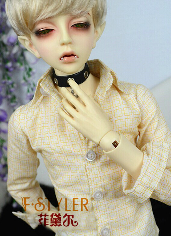 BJD doll clothes SD MSD YOSD Doll clothes Small yellow plaid long-sleeve shirt 1pc long sleeve shirt for blythe dolls base shirt clothes for barbie blouse momoko doll clothes 1 6 doll accessories