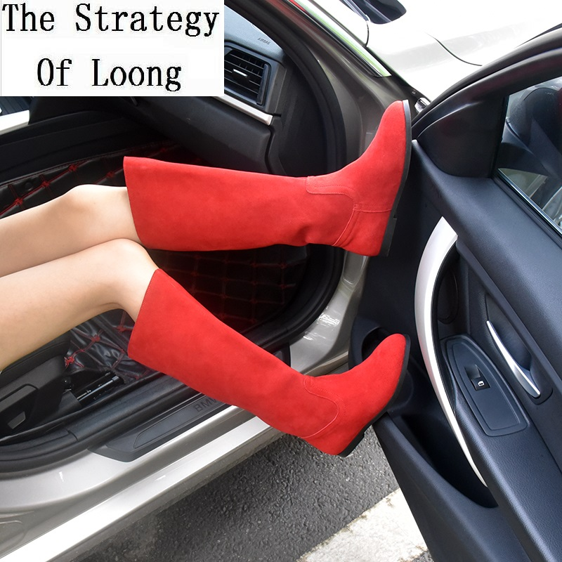 2019 New Fashion Autumn Winter Full Gentlemen Leather Plush Sewing Women Boots Flat Heels Knee High