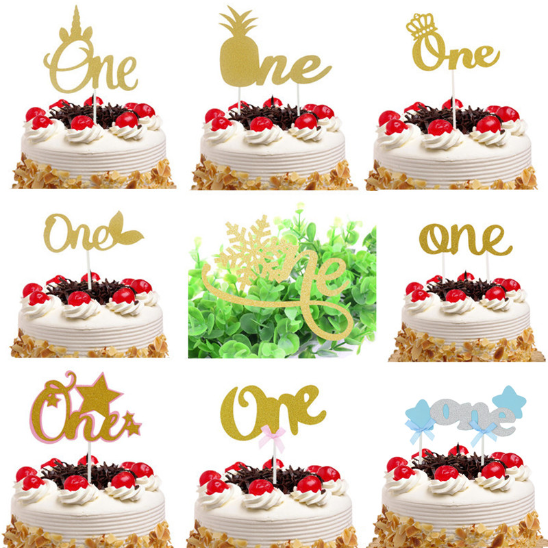ONE Cake Topper Kids 1ST Birthday Party Decoration Cupcake Topper Baby Shower Wedding Bride Party DIY Supplies Baking Decor Xmas
