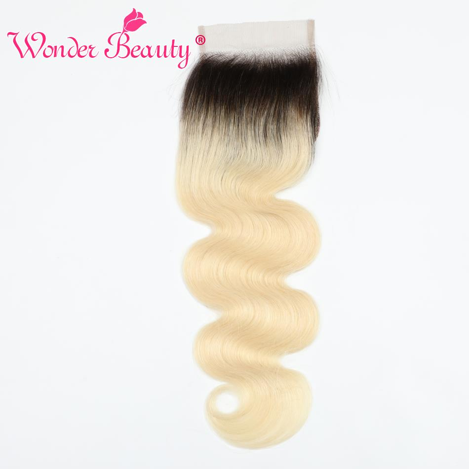 Peruvian Body Wave 4x4Lace Closure 1B 613 Color 100%Remy Human Hair Full Blonde Closures With Baby Hair Extension Wonder Beauty