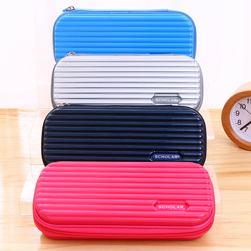 Creative Solid Color Pencil Case For Girl Gift Kawaii Travel Suitcase Storage Bag Multifunctional Pen Box Stationery Supplies