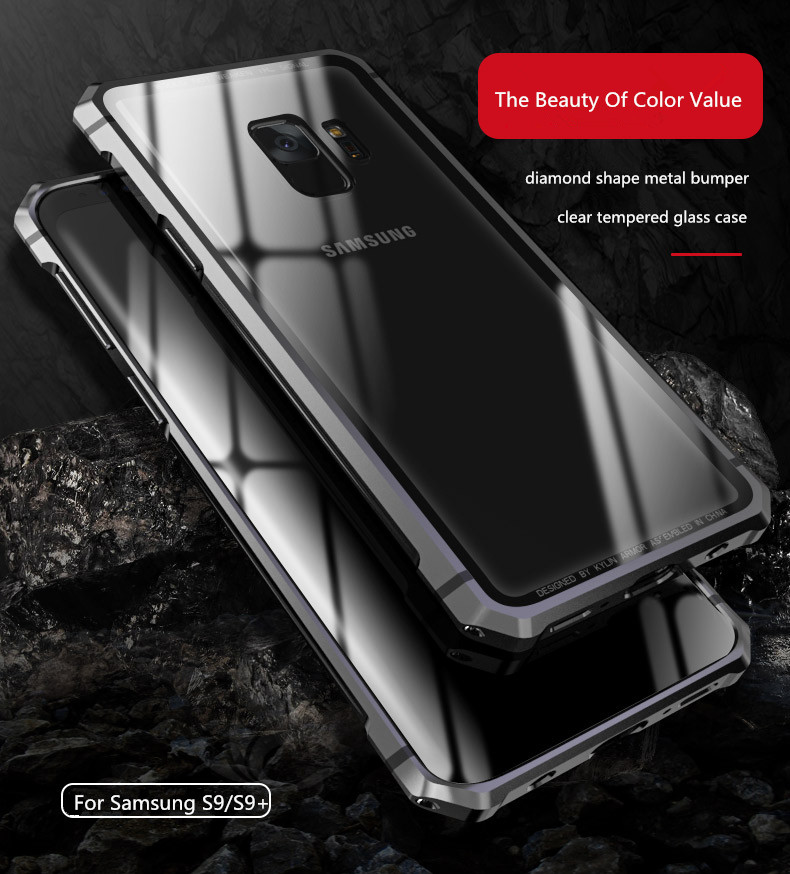 Samsung S9 Plus Shockproof case clear tempered glass back cover  diamond metal bumper (1)