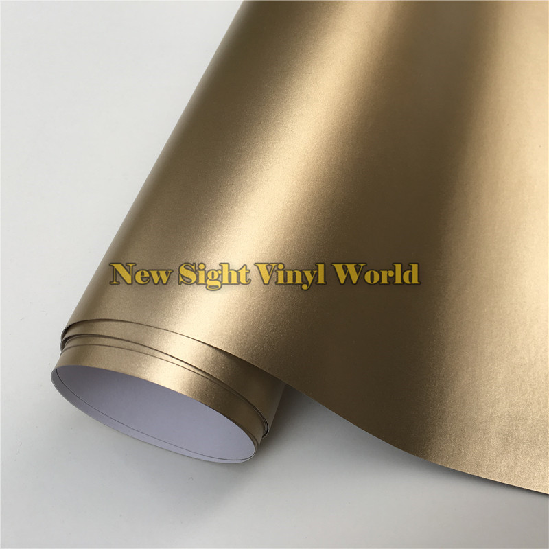 High Quality Matte Chrome Metallic Champagne Gold Vinyl Wrap Roll Bubble Free For Car Wrapping Size:1.52*20M/Roll quality guarantee silver chrome vinyl film for car wrapping sticker with air bubble free 20m roll