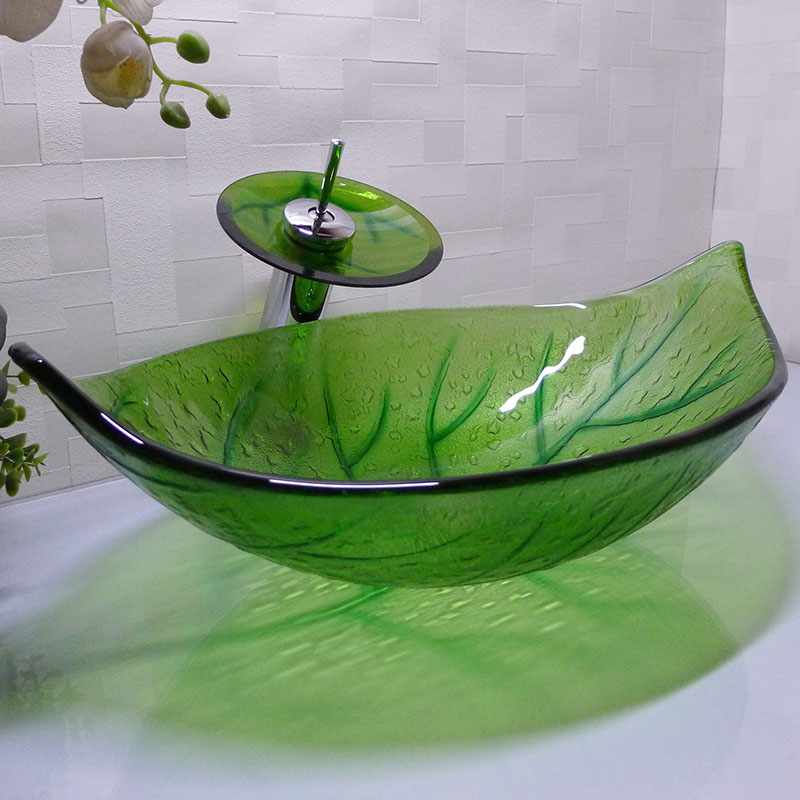 Green leaf shape cloakroom tempered glass above counter wash basin bathroom glass counter top - Glass cloakroom basin ...