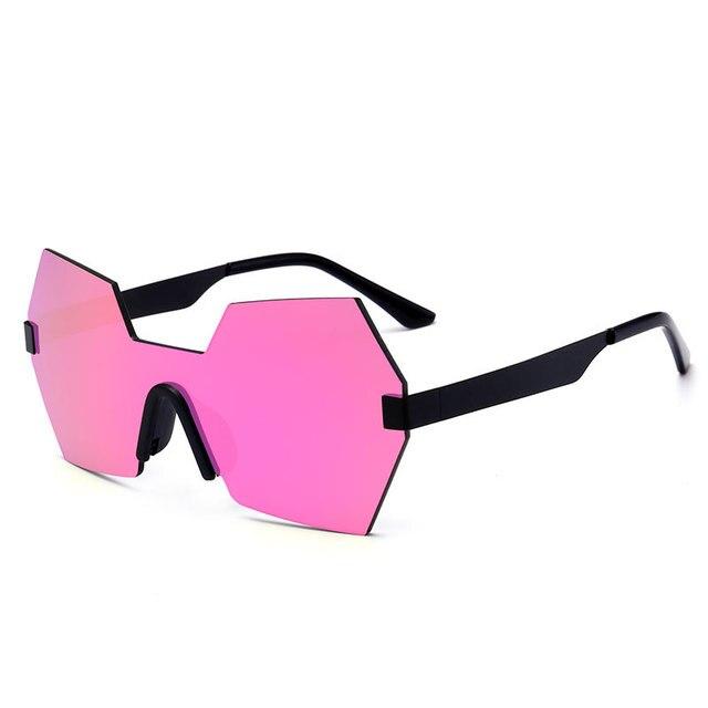 9ffba169f55 New Fashion Women Conjoined Mirror Sunglasses Brand Designer Cool Integrated  Lens Men Rimless Reflective Lens Glasses
