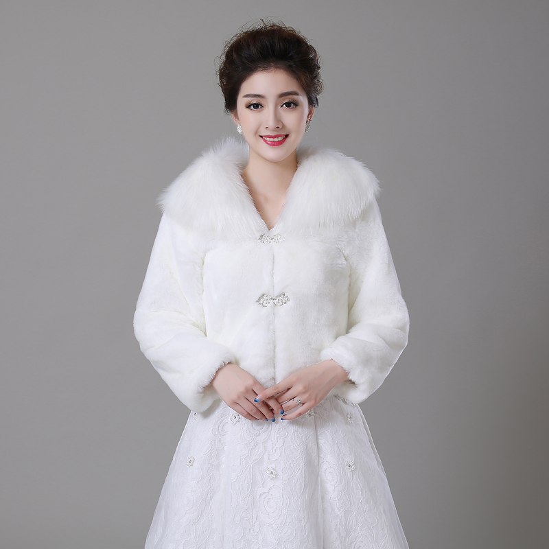 Luxury Faux Fur Winter Long Sleeve Bridal Wraps Warm Boleros Cape Evening Coat Wedding Jacket Bridesmaids In Jackets Wrap From