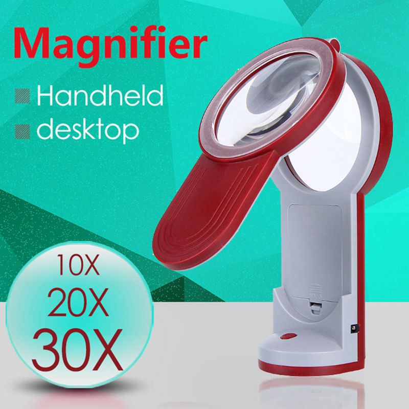 3X 4.5X 6X Foldable Magnifying Glass Handheld and Desktop Dual-use Magnifier with Power Support and LED Light for Reading new universal desktop magnifier usb with led light 10x for maintenance reading micro engraving magnifying glass