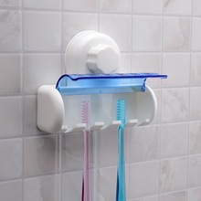 2017 New Plastic Dust-proof Toothbrush Holder Bathroom Kitchen Family Toothbrush Suction Cups Holder Wall Stand Hook 5 Racks