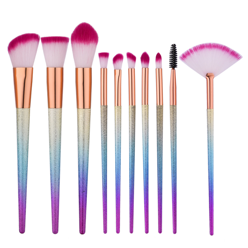 Gradient Rainbow makeup Brushes Set Fantasy Eyebrow Eyeliner Blush Blending Contour Foundation Cosmetic Beauty Make Up tools newest mermaid makeup brushes set fantasy eyebrow eyeliner blush blending contour foundation cosmetic beauty make up fish brus