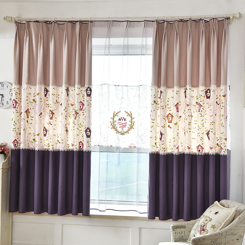 Window Curtains Natural Pattern Length 200cm Bird Nest Printed Home Decoration For Living Room Bedroom