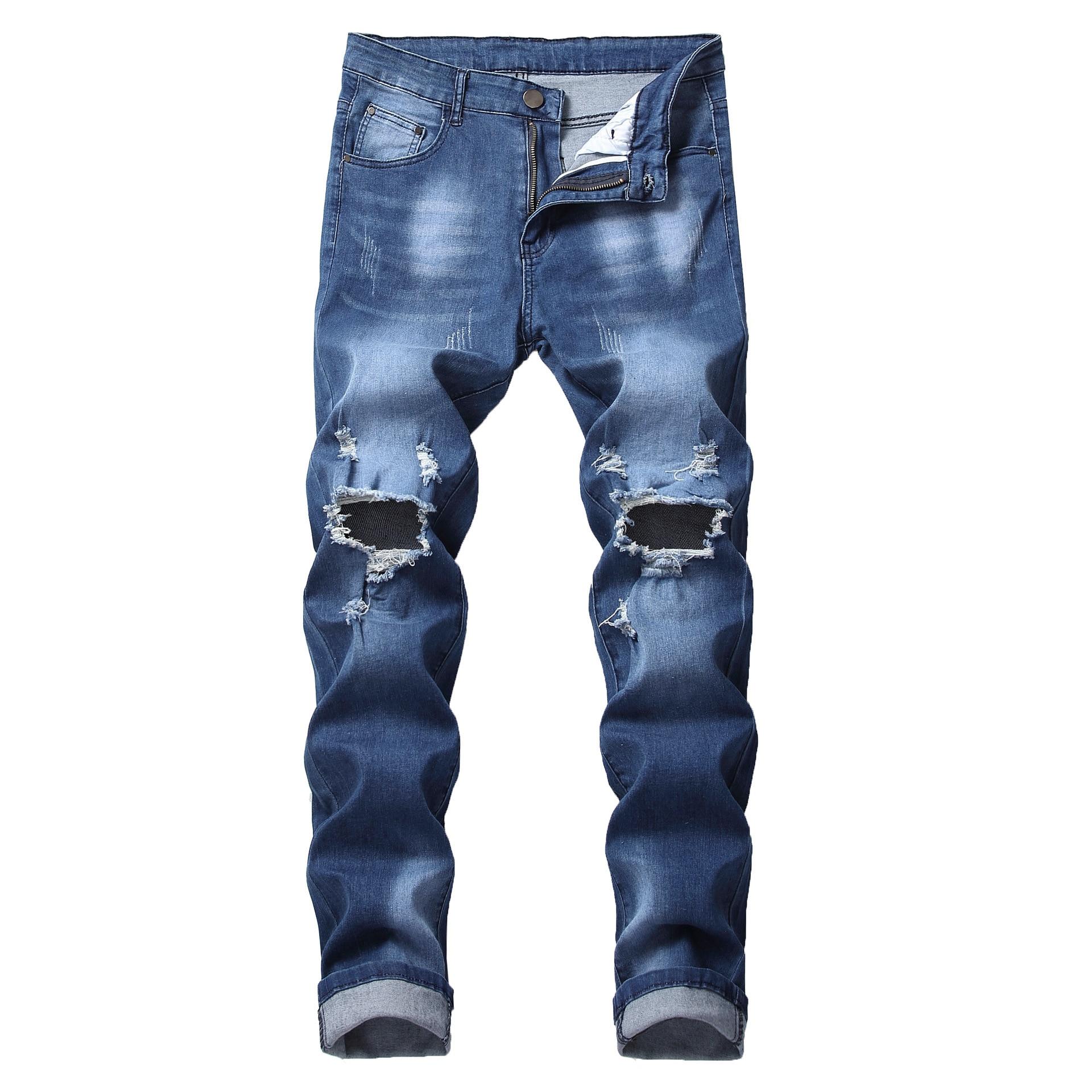 Calças de Brim dos homens do Vintage Dos Homens Motociclista Moto Slim Fit Impresso Slim Fit Stretchy Skinny Apertado Mais Jovens-Calças À Procura