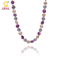 6e8448c54a31 Delicate12mm Flat Round Coin Pearl Necklace Champagne Amaranth Peacock And  White Color Freshwater Pearl Wedding Mother