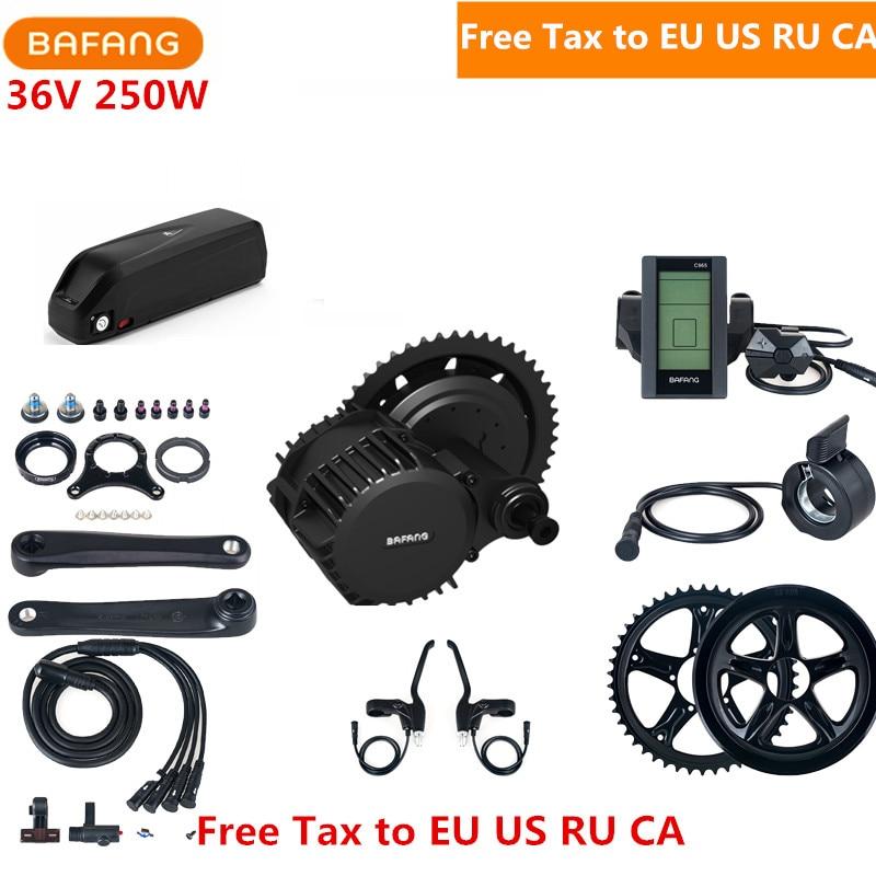 Bafang 8fun 36V 250W BBS01B Mid Drive Motor Kits Crank C965 C961 Eletric Bicycle Ebike Kits With 36V 17AH Lithium Battery