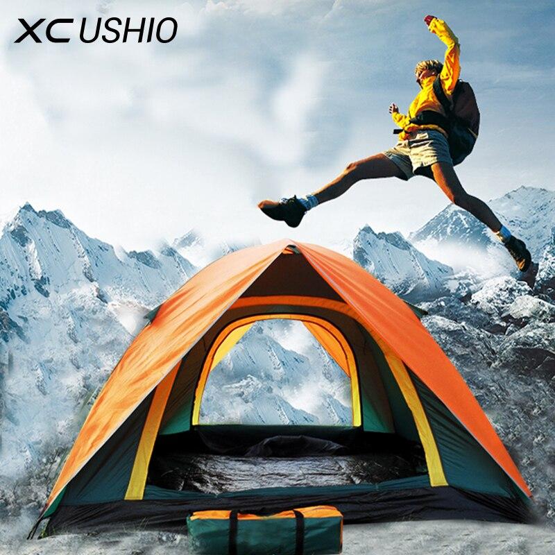 2017 Best Seller Double Layer 3 4 Persona Antipioggia Outdoor Tenda Da Campeggio per le Escursioni Pesca Caccia Avventura Picnic Partito