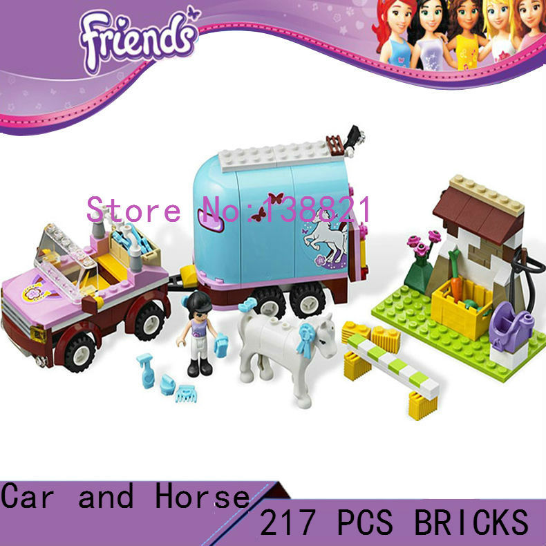 DIY Educational Toys for children girl car and horse Blocks self-locking bricks Compatible with Lego friends educational diy toys for children baby toy building school and school bus self locking bricks compatible with lego
