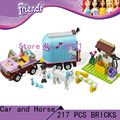DIY Juguetes Educativos para niños de la muchacha del coche y caballo Bloques ladrillos autoblocantes Compatible con Lego friends