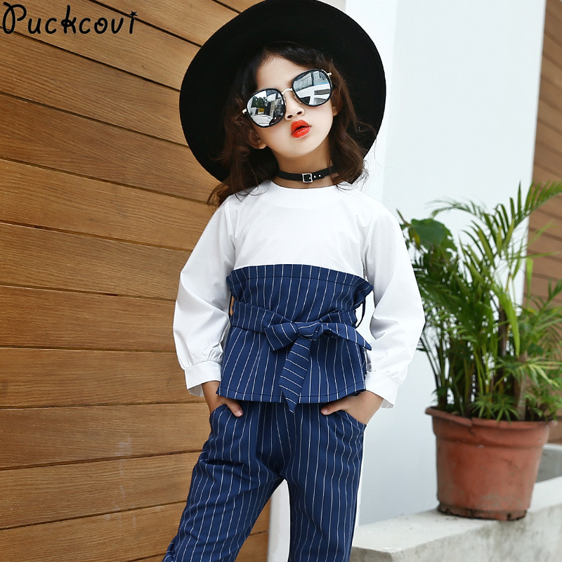 Girls clothing sets Kids clothes Fashion stripe suits Roupas infantis menina Baby girl clothes autumn t-shirt+pants suit 4-13y 2017 kids clothes costumes for girls spring full sleeve clothing sets roupas infantis menina children t shirt denim pants set page 7
