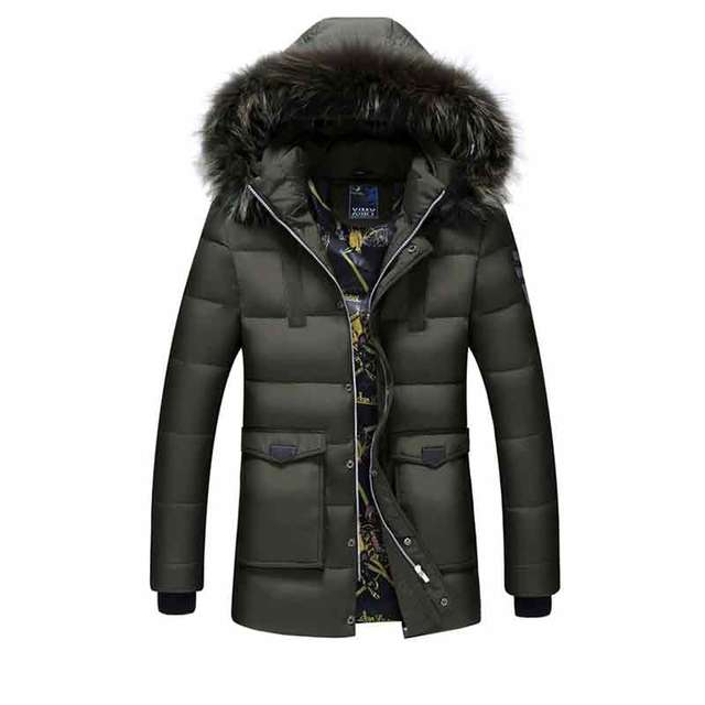 Brand Clothing Winter Jacket Men Solid Long Style Thick 100% Down ...