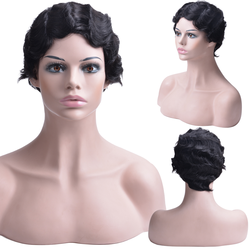 Human Hair Lace Wigs Lace Wigs Fine Short Human Hair Wigs With Bangs Brazilian Ocean Wave Remy Human Hair Wigs For Black Women