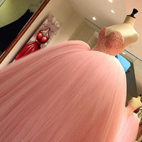 Luxury Beading Sweetheart Puffy Long Prom Dress Vestido De Baile Curto Pink Ball Gown Princess Prom