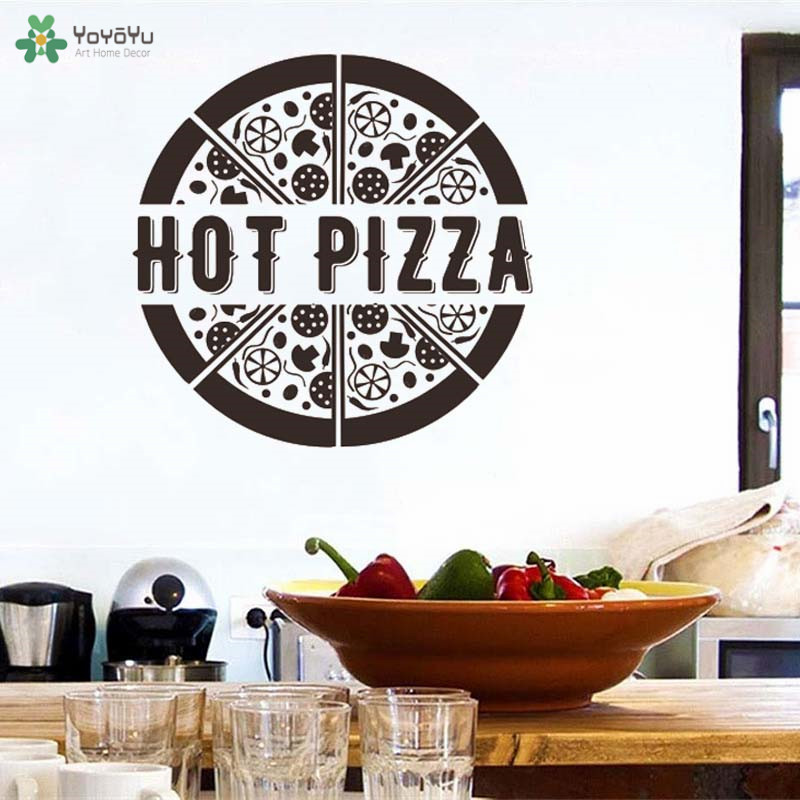 Creative Pizza Art Vinyl Wall Decals Shop Window Sticker Home Decoration For Dining Room Kitchen 40 Colors Available QQ417