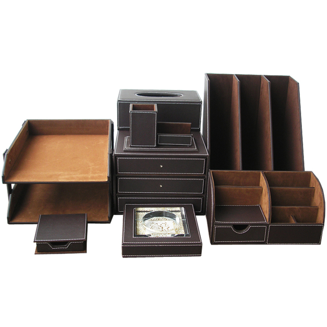 Buy ever perfect 8pcs set leather office - Leather desk organizer set ...