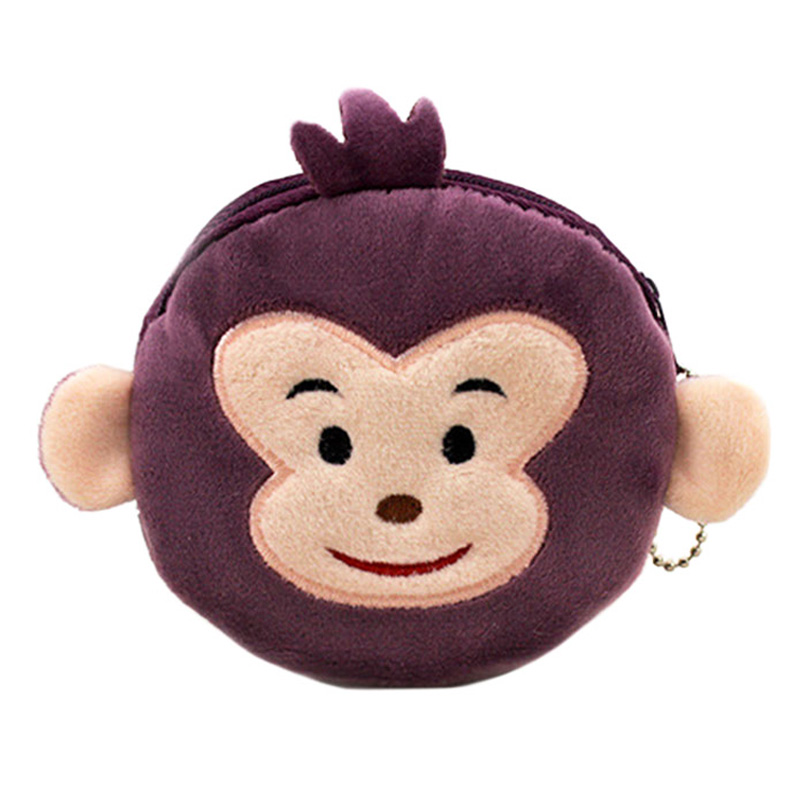 XYDYY Cute Purple Monkey Women Plush Coin Purse Portable Storage Coin Money Pouch Children Wallets Mini ID Card Holder Purse Bag cute cats coin purse pu leather money bags pouch for women girls mini cheap coin pocket small card holder case wallets