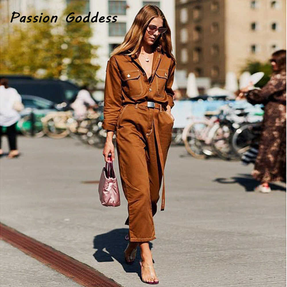 1e5ef323eb4 Winter Cool Women Denim Cargo Jumpsuits Long Pants Cargo Punk Turn Down  Collar Belt Jumpsuits Macacao