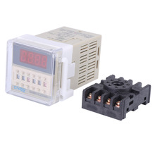 110V AC Time Relay 0.1s~99h Cycle Control Time Relay DH48S-S  Digital Display Time Relay with Base silver contact relay dh48s 2z digital display time relay ac110 220v dc12v 24v 36vtime relay