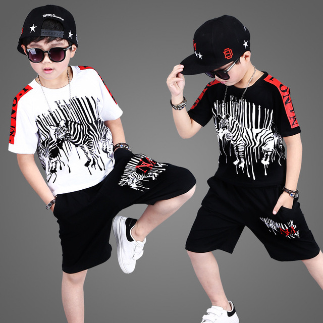 2018 Summer New Fashion Korean Boys Zebra Printing Suit Kids Hip Hop Clothing Set Childrens Cotton