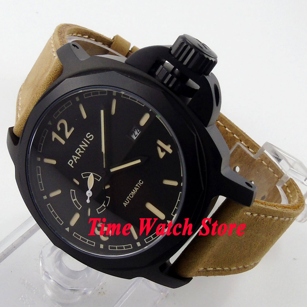 Parnis watch 24 hours 44mm black PVD coated case sapphire glass 21 jewels MIYOTA 82S5 Automatic movement men's watch 474 цена и фото