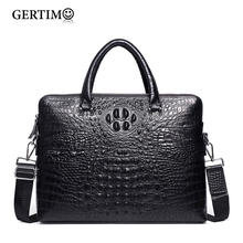 Mens Luxury Brand Genuine/Real Cowhide Leather Handbag Croc/Alligator Pattern Business Briefcase Men Laptop Bags Shoulder Bag цена в Москве и Питере