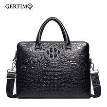 Mens Luxury Brand Genuine/Real Cowhide Leather Handbag Croc/Alligator Pattern Business Briefcase Men Laptop Bags Shoulder Bag