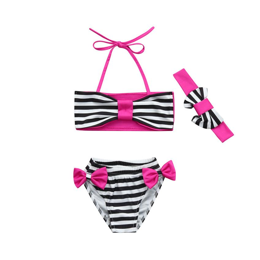 Baby Girls Swimwear Striped Bikini Two Pieces Infant Swimsuit Polyester Bathing with Bow Headbands for Summer Party Beach 18Apr9