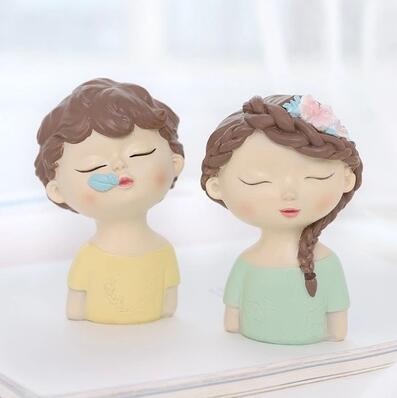 Moule Silicone garçon et fille avec feuilles fleur avatar fait à la main tête d'ange fondant gâteau décoration argile résine arôme pierre moule - 6