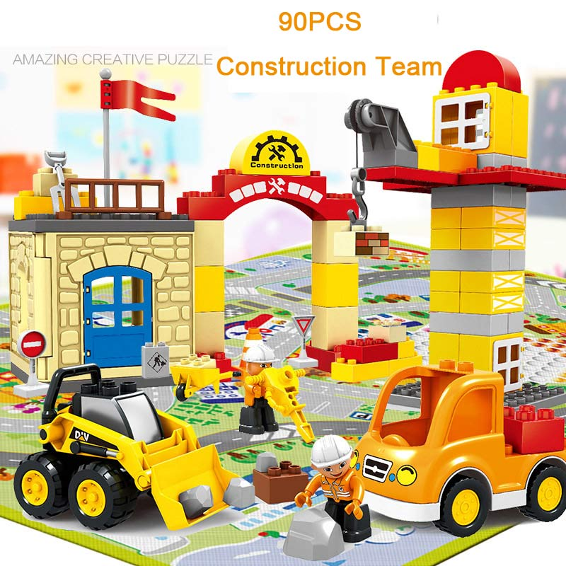Large Size 90pcs/set City Construction Team Engineering Team Model Construction Worker Figures Toy Compatible With Duplo цена 2017