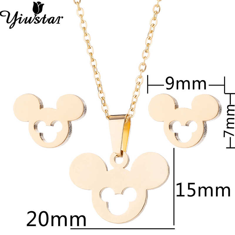 Yiustar New Arrival Cute Elegant Mickey Necklace Pendants Stainless Steel Animal Necklace Jewelry Christmas Gift