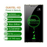 Original Oukitel K3 Mobile Phone 5.5 MT6750T Octa Core Android 7.0 4GB+64GB 6000mAh 4 Camera 4G LTE OTA OTG Mobile Phone
