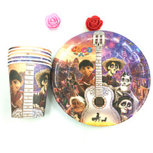 coco theme 20pcs cups+20pcs paper plates for kids birthday party Tableware set decoration 20people use