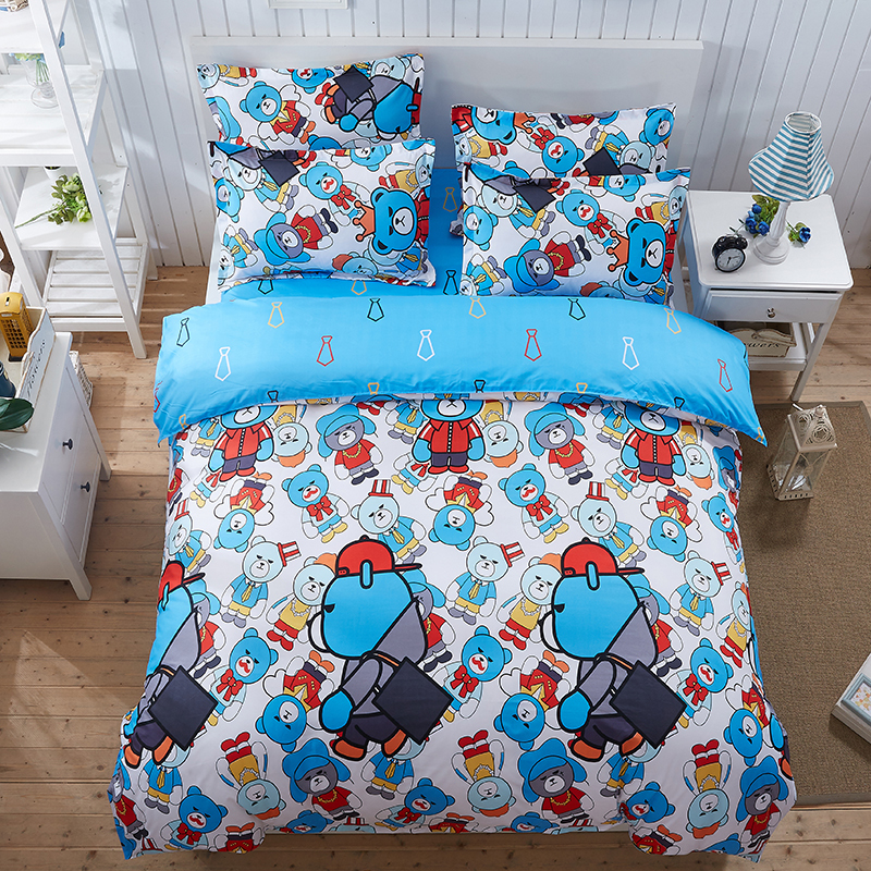 MYRU Cartoon Bear Pattern Boy Girl Adult Child Bedclothes 4pcs Cheap Bedding Sets Bed Cover Bed Sheet Duvet Cover Pillowcase