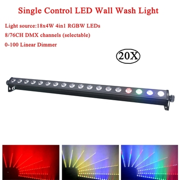 20Pcs/Lot 18x4w RGBW 4in1 DJ Stage Lighting Running Horse Point Control LED Wall Wash Light Led Bar Light Led Wall Washer Lights