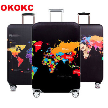 цена на OKOKC World Map Trolley Case Suitcase Dust Cover Travel Accessories Elastic Fabric Luggage Protective Cover Suitable18-32 Inch