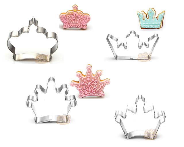 Cake Decorating Crown Cutter : 4PCS/SET Crown,Shape Stainless Steel Cookie Cutter Pastry ...