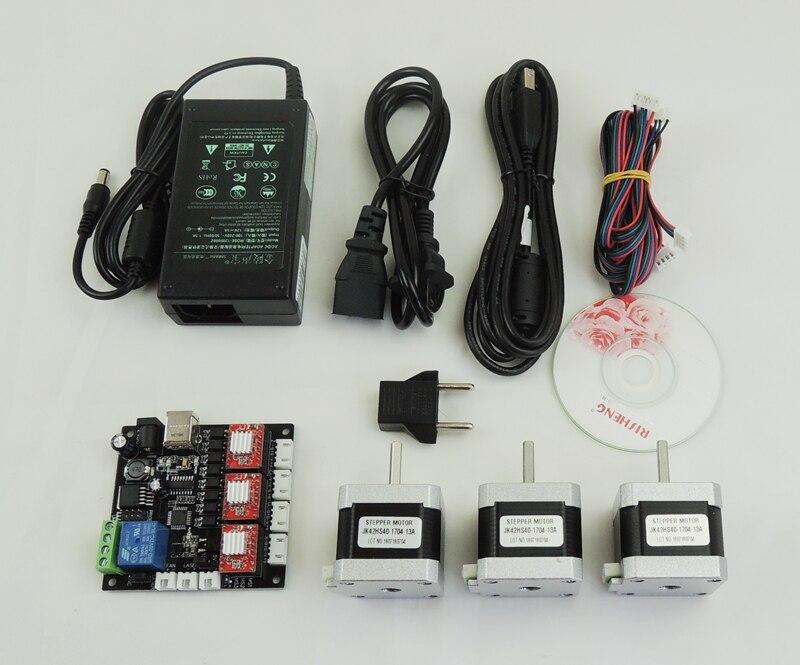 CNC 3 axe Laser machine de gravure kit complet, GRBL LASER CNC carte contrôleur 3 Axe Pilote de Carte + 3 pcs nema17 moteur + alimentation