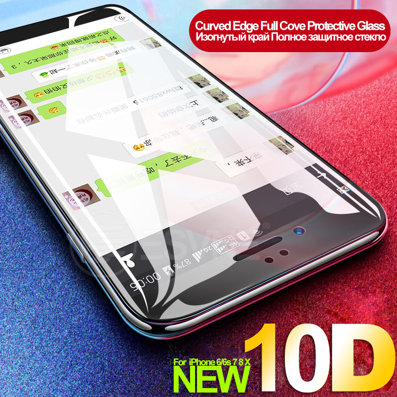 ESVNE 10D Curved Edge Tempered Glass For IPhone 6 Glass Iphone 7 Glass 6s 8 Plus HD Full Cover IPhone X Screen Protector Film