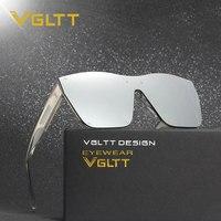 VGLTT Oversized Rimless Men Women Brand Designer Large Frame Mirror Sunglasses Male Shades UV400 Mirror Sun