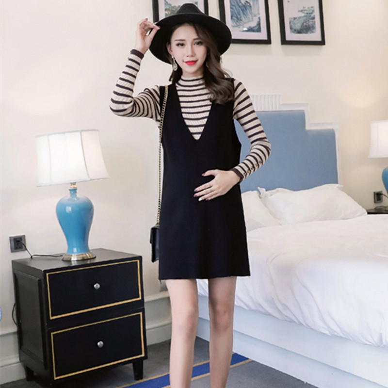 2018 autumn and winter new two-piece pregnant women sweater was thin cover maternity dress stripe dress set