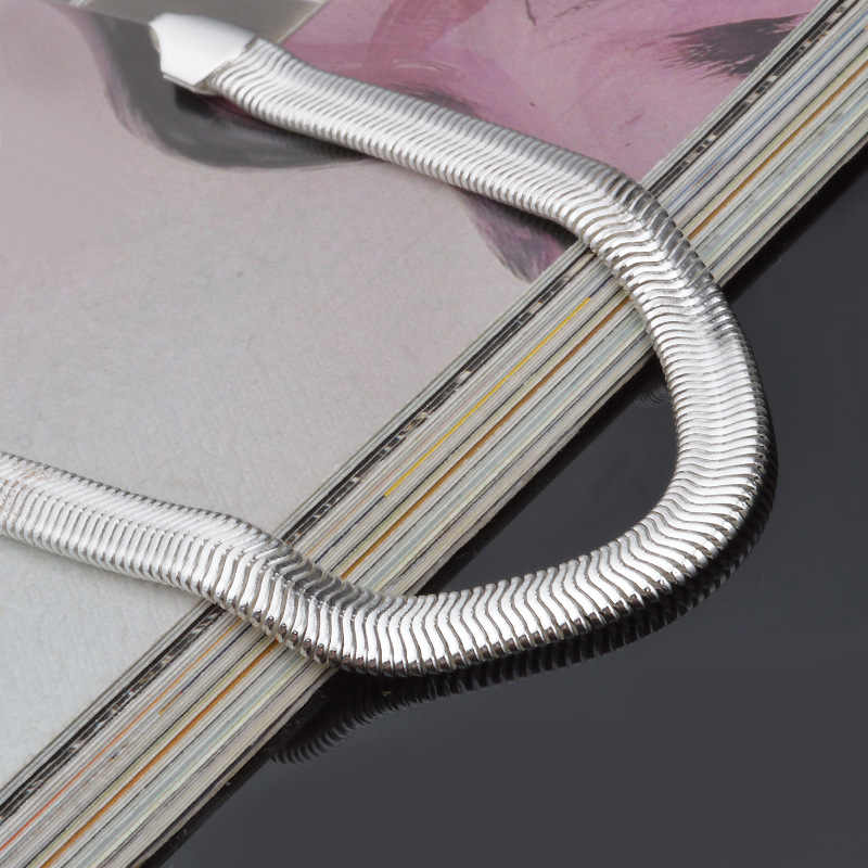 Quyến rũ Vòng Đeo Tay 6mm Flat Rắn Vòng Tay & Bangles Đối Với Phụ Nữ 925 Sterling Bạc Trang Sức Femme Bileklik Pulseira Pulseras