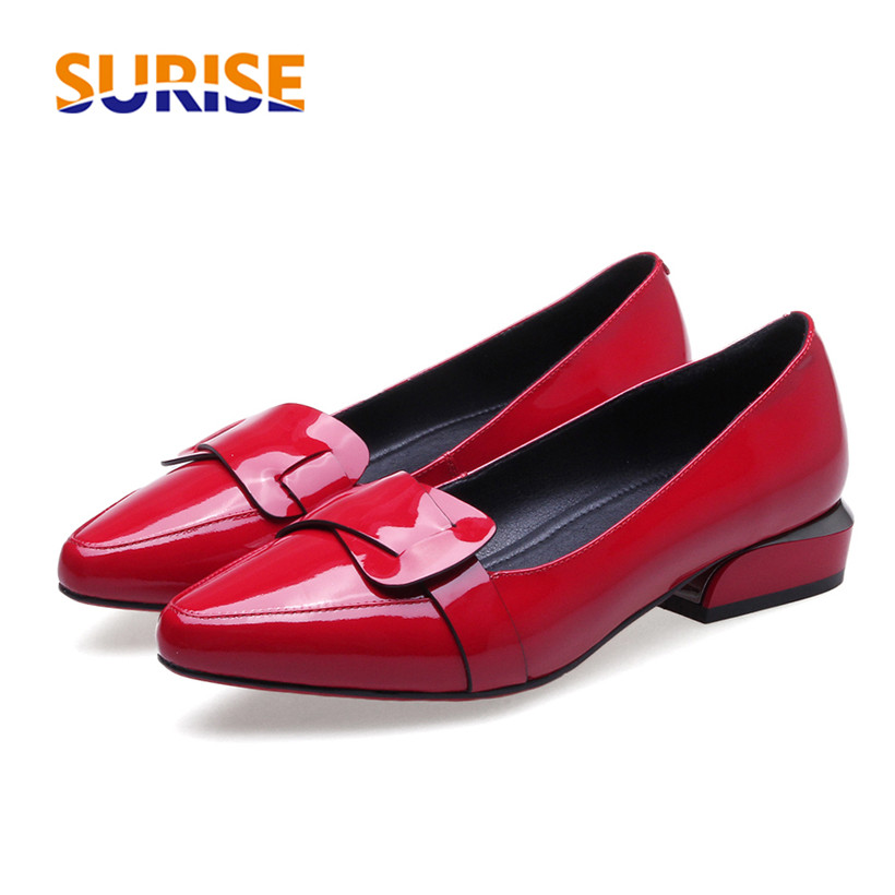 Casual Women Loafer Genuine Patent Leather Low Square Heel Pointed Toe Buckle Slip On Spring Autumn Office Lady Mocassins Flats women bright leather flats round toe shallow chaussure soft sole ladies shoes low heel spring casual loafer shoe slip on flats
