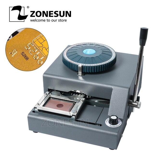 ZONESUN DIY Custom 72 Character PVC Card Embosser Press Stamping Machine Credit ID VIP Magnetic Embossing Machine